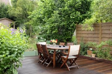 Terrasse + palissade ambiance Bondex